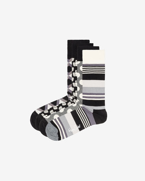 Happy Socks Black And White 4-pack Čarape